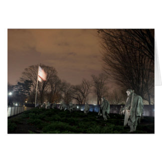 Korean War Memorial Washington Monument night Card
