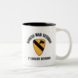 Korean War Veteran - 1st Cav Two-Tone Coffee Mug