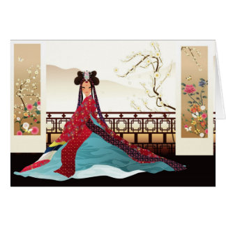 Korean woman wearing a hanbok card