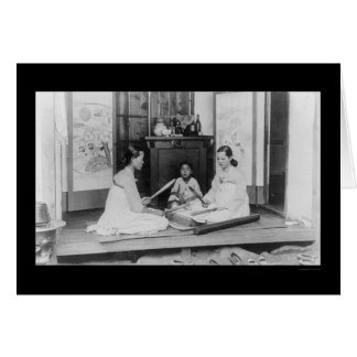 Korean Women Stick Ironing 1910 Card