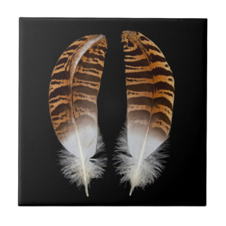 Kori Bustard Feathers Ceramic Tile