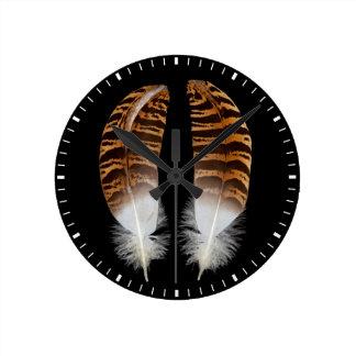 Kori Bustard Feathers Round Clock