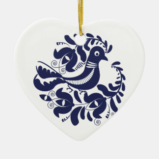 Korondi folk motif ceramic heart ornament