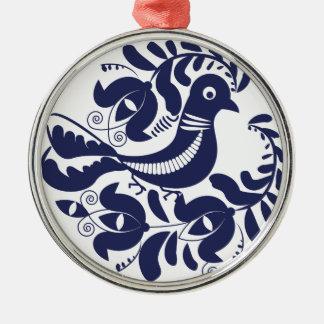 Korondi folk motif Silver-Colored round ornament