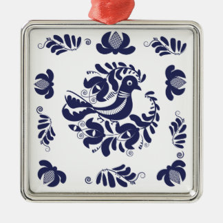 Korondi folk motif Silver-Colored square ornament