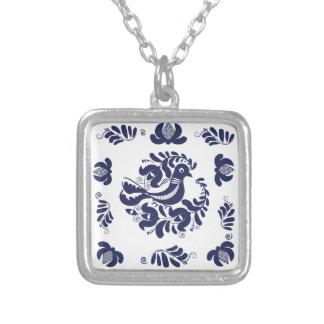 Korondi folk motif silver plated necklace
