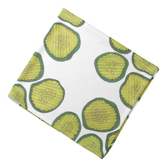 Kosher Green Dill Pickle Print Pickles Pattern Head Kerchiefs