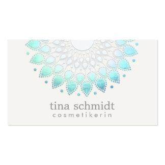 Kosmetologie Elegante Kreis Hellblau Weiß Pack Of Standard Business Cards