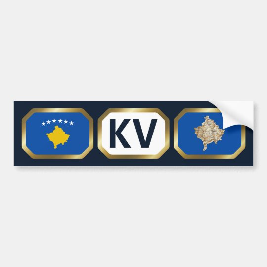 Kosovo Flag Map Code Bumper Sticker