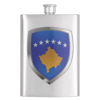 Kosovo Metallic Emblem Hip Flask