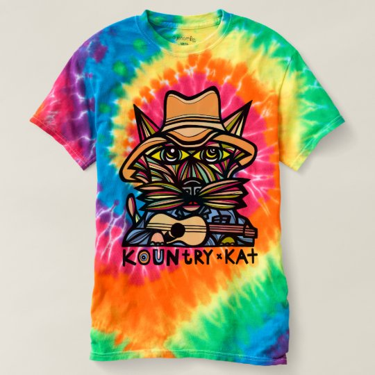 """Kountry Kat"" Men's Spiral Tie-Dye T-shirt"