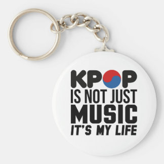 Kpop Is My Life Music Slogan Graphics Basic Round Button Keychain