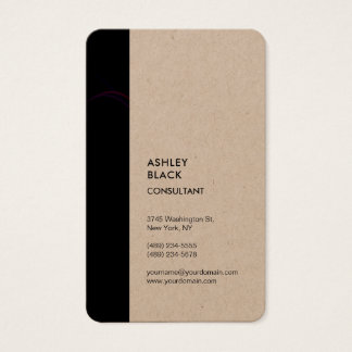 Kraft Black Stripe Minimalist Modern Style Simple Business Card