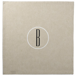 Kraft Brown Chic Monogram Letter Initial Rustic Napkin