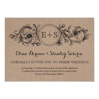 "Kraft cardboard floral frame with initials wedding 5"" x 7"" invitation card"