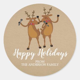 Kraft Dancing Reindeer Christmas Sticker