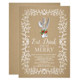 Kraft Eat Drink Merry Christmas Holiday Invitation