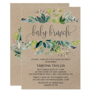 Kraft Foliage Baby Brunch Card