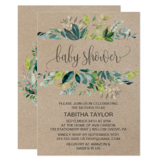 Kraft Foliage Baby Shower Card