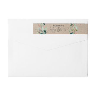 Kraft Foliage Baby Shower Wrap Around Label