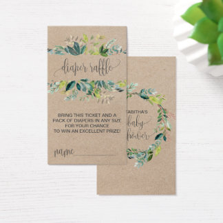 Kraft Foliage Diaper Raffle Invitation Insert
