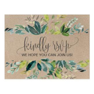 Kraft Foliage Song Request RSVP Postcard