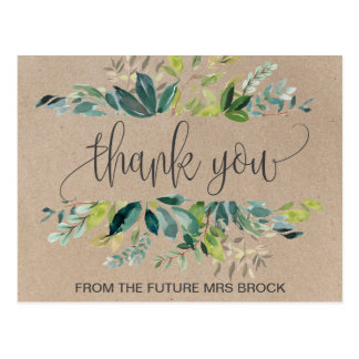 Kraft Foliage Thank You Postcard