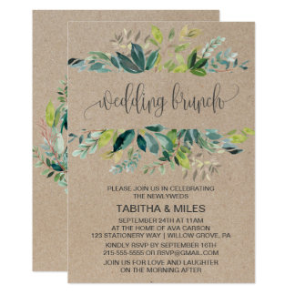 Kraft Foliage Wedding Brunch Card