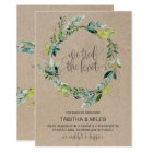 Kraft Foliage Wreath Elopement Announcement