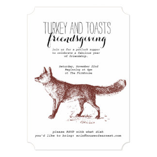 "Kraft Fox Friendsgiving Invitation 5"" X 7"" Invitation Card"