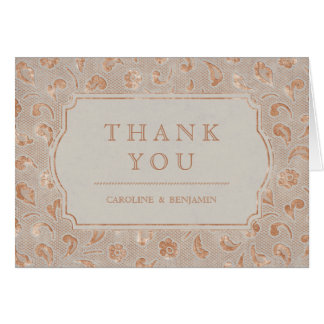 Kraft gold Lace rustic country wedding thank you Card