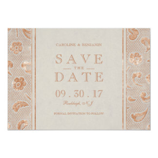 Kraft gold Lace rustic wedding save the date Card