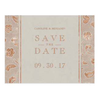 Kraft gold Lace rustic wedding save the date Postcard