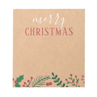 Kraft, Holly & Pine | Merry Christmas Notepad