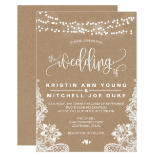 Kraft Lace and Lights Rustic Wedding Invitation