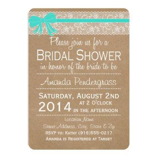 Kraft Lace Bridal Shower Invitation