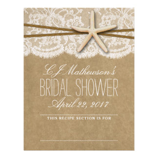 Kraft, Lace & Starfish Beach Bridal Shower Divider Letterhead