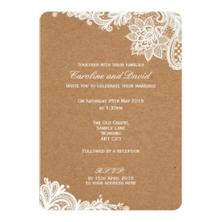 Kraft Lace Wedding Invitation