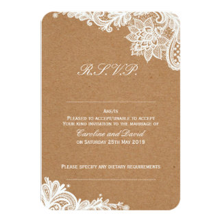 Kraft Lace Wedding RSVP Card