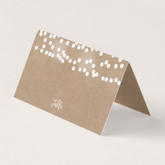 Kraft Lights Wedding Place Cards