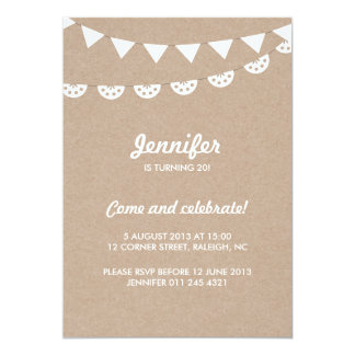 Kraft Paper and White Bunting Party Card