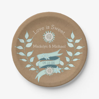 Kraft Paper Blue Floral Wedding Paper Plates 7 Inch Paper Plate