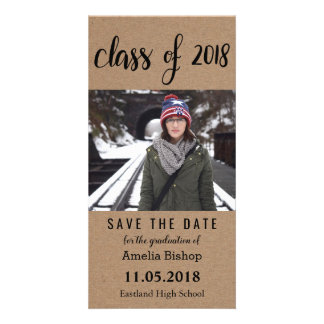 Kraft Paper Class Of 2018 Typography Save The Date Card