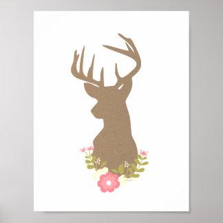 Kraft Paper Deer with Flowers Poster