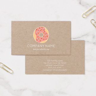 Kraft paper donut bakery sweets cute business card