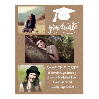 Kraft Paper Graduate | Save The Date Three Photo Postcard
