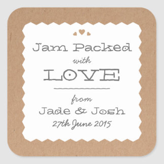 Kraft Paper Hearts Food Favor Label Square Sticker