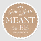Kraft Paper Hearts Wedding Meant to Be Favour Classic Round Sticker