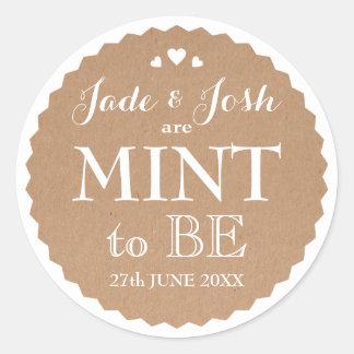 Kraft Paper Hearts Wedding Mint Favor Round Round Sticker