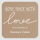 Kraft Paper Home Made With Love Typography Square Sticker